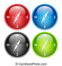 Compass button - Four colors glossy compass button