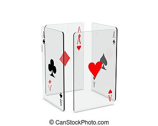 Playing cards - Four of a kind of glass playing cards,...