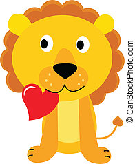 Cute little lion with red heart