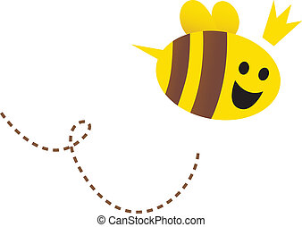Mother Queen bee isolated on white - Happy queen bee. Vector...
