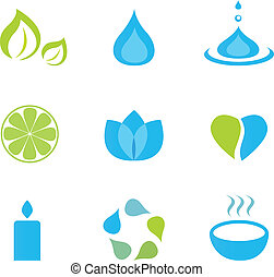 Water, wellness and zen icons - Vector icon collection of...