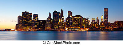 New York - Panoramic view of Manhattan Skyline by night