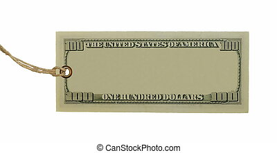 blank hundred dollars bank note and tag tied isolated on...