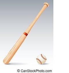 Baseball bat - Vector illustration - Baseball bat and ball