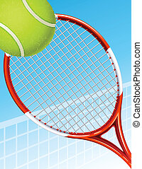 Tennis background - Vector illustration - Tennis racket and...