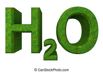 H2O - water chemical symbol - in grass 3d made