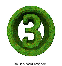 3d number 3 in green grass