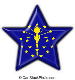 Indiana (USA State) button flag star shape - 3d made