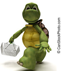 Tortoise with a shopping basket - 3D Render of a Tortoise...