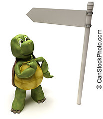 Tortoise with a signpost - 3D Render of a Tortoise with a...