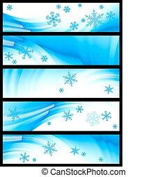 winter banner, vector - set of five winter banners, vector...
