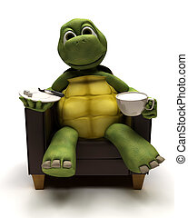 Tortoise relexing in armchair with a coffee