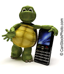 Tortoise with a cell phone - 3D Render of a Tortoise with a...