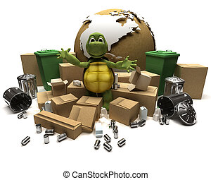 Tortoise with a trash and waste - 3D Render of a Tortoise...