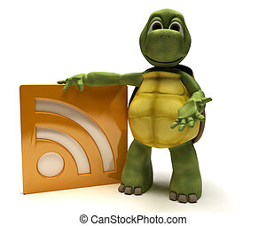 Tortoise with an rss symbol - 3D Render of a Tortoise with...