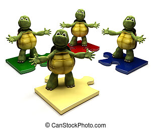 Tortoises on jigsaw pieces - 3D Render of a Tortoises on...