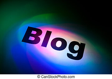 blog - Color light and word of blog for background