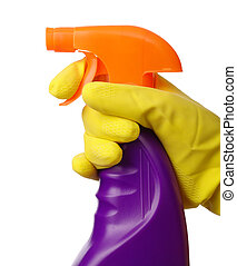 Hand holds sprayer with chemical cleaner - Chores - hand in...