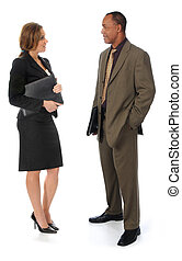 Two Business People Talking on White - A professionally...