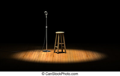 Open Mic - Microphone stand and wooden stool under a...