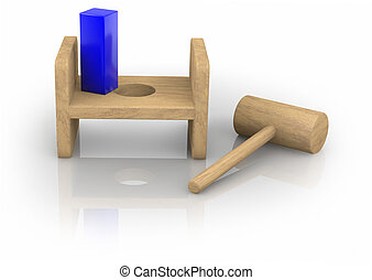 Square Peg in the Round Hole - Child's toy showing a quare...