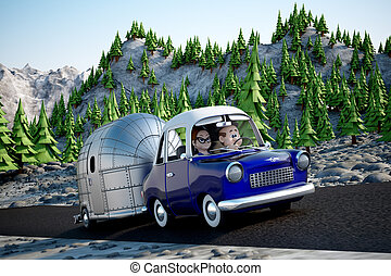 Road Trip - A cartoon Image of a couple driving in the deset...