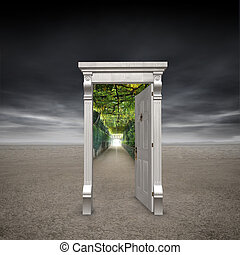 Portal into another dimension represented by a doorway in...