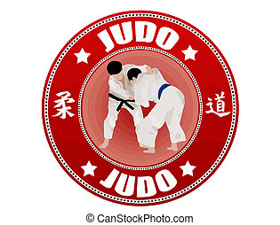 Judo  label - Judo label, vector illustration