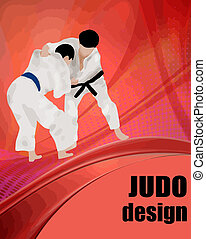 Judo design poster - Judo action fighters. Abstract judo...