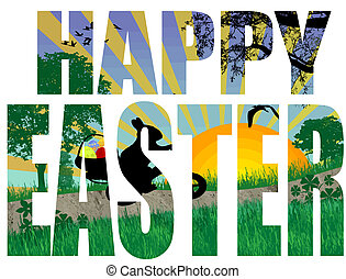 Happy Easter title with a easter scene in the background,...