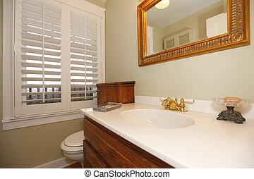 Tropical classic bathroom with white sink