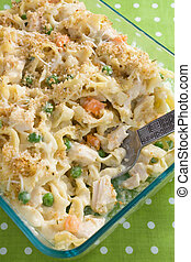 Chicken and Noodle Casserole - Creamy baked chicken noodle...