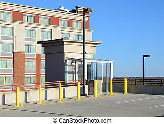 Parking Deck Elevator - Elevator on the top of a parking...