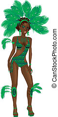 Carnival Green Girl - Vector Illustration for carnival...