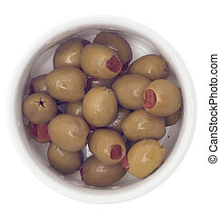 Pimento Stuffed Green Olives in a Bowl Isolated on White...