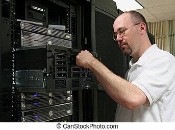 computador, Technician/network, administrador, trabalhando,...