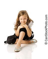 Little girl - Happy Little girl sitting isolated on white