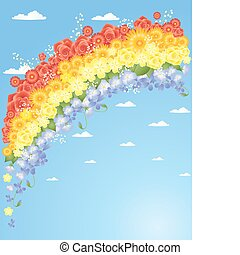 floral rainbow - an illustration of a floral rainbow with...