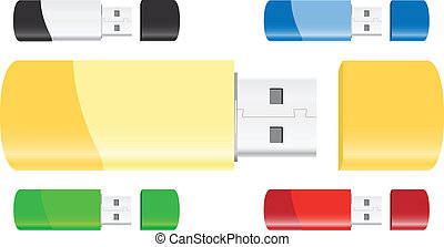 Usb Flash Drives - Set of USB Flash Drives Vector