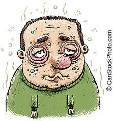 Sad and Sick Man - A man swollen from illness.