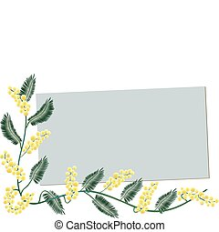 Mimosa border - Greeting card - A decorative border with a...