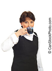 Business woman drinking coffee