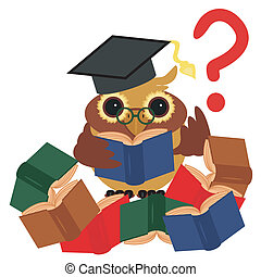 clever owl with books on white background