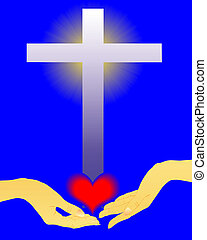 hand with the heart of the cross on a blue background