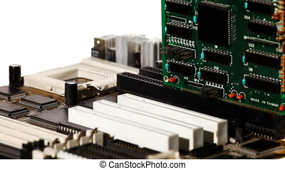 computer main board with slot and expansion card