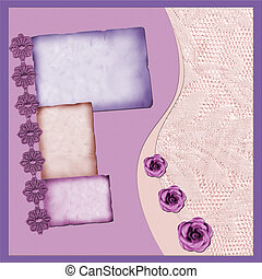 scrapbook page6 - Page with lilac elements and flowers