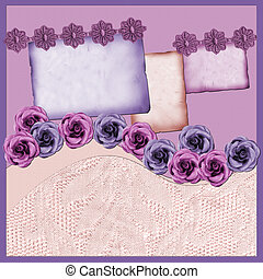 Page with lilac elements and flowers