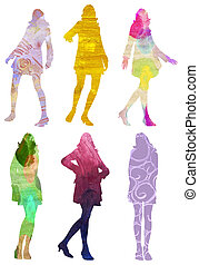 art textured posing women illustration - 6 colorful...