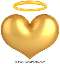 dourado, Coração, anjo, são, Amor