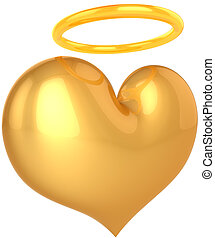 Angel heart. Holy Love abstract - Love Angel heart golden...